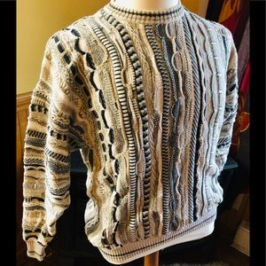 Coogi Sweater Alfani Mens L Cream Gray Tan Sweater